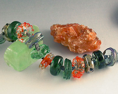 handmade lampwork glass rondell beads by Emma Ralph