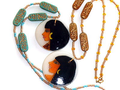 egyptian polymer clay pendants