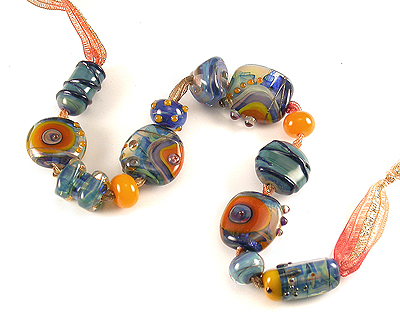 colourful lampwork glass beads