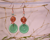 Shabby Chic - Button Earrings - Old Aqua