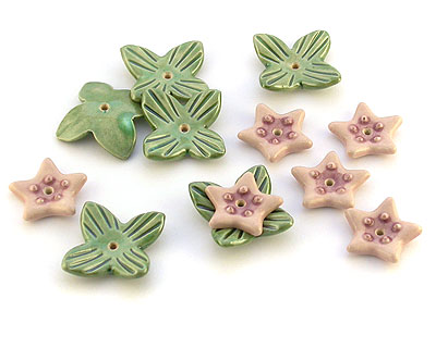 waterlillies ceramic charm beads
