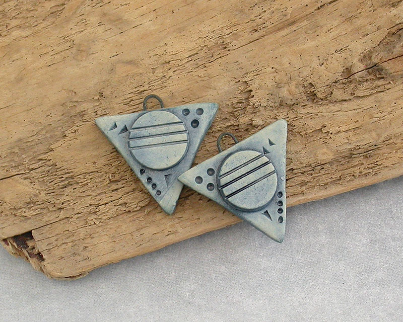 Ceramic Clay Beads - Blue Troikaesque Triangle Components