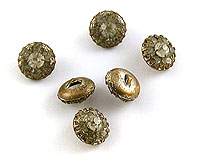 Diamante Crystal & Brass Rondell Buttons