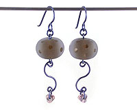 Lampwork Jewellery - Navy Funk - Earrings
