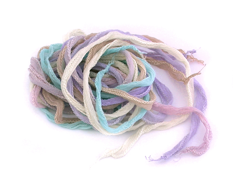 Silk Ribbons - Palest Pastels - Bundle of 5 Mixed Colours
