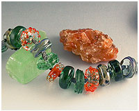 kiln annealed handmade lampwork glass beads by Emma Ralph